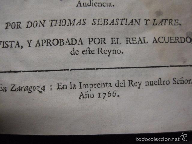 Libros antiguos: RELACION SUCESO CIUDAD DE ZARAGOZA 6 DE ABRIL DE 1766- IMPRENTA DEL REY AÑO 1766-VER FOTOS -(XL-49) - Foto 2 - 224217420