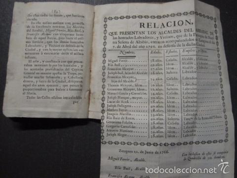 Libros antiguos: RELACION SUCESO CIUDAD DE ZARAGOZA 6 DE ABRIL DE 1766- IMPRENTA DEL REY AÑO 1766-VER FOTOS -(XL-49) - Foto 17 - 224217420