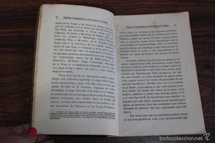 Libros antiguos: ESTUDIOS HIDROGEOLOGICOS EN EL VALLE DE LA OROTAVA, LUCAS FERNANDEZ NAVARRO.CANARIAS 1924.98 PAGINAS - Foto 4 - 58499230
