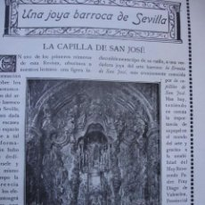 Libros antiguos: LA CAPILLA DE SAN JOSE .MANUEL CHAVES JIMENEZ .10 PG.SEVILLA .AÑO 1914. Lote 58509057