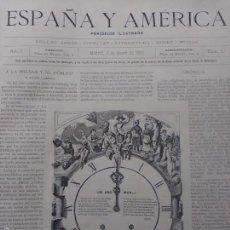 Libros antiguos: ESPAÑA Y AMÉRICA. PERIÓDICO ILUSTRADO. AÑO 1892 COMPLETO. ENCUADERNADO CON ÍNDICE. (MADRID, 1892)). Lote 58710720