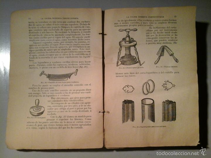 Libros antiguos: La cocina moderna perfeccionada Tratado completo cocina.14ª ed.Saenz de Jubera(ca.1900).Falto. raro. - Foto 4 - 58832561