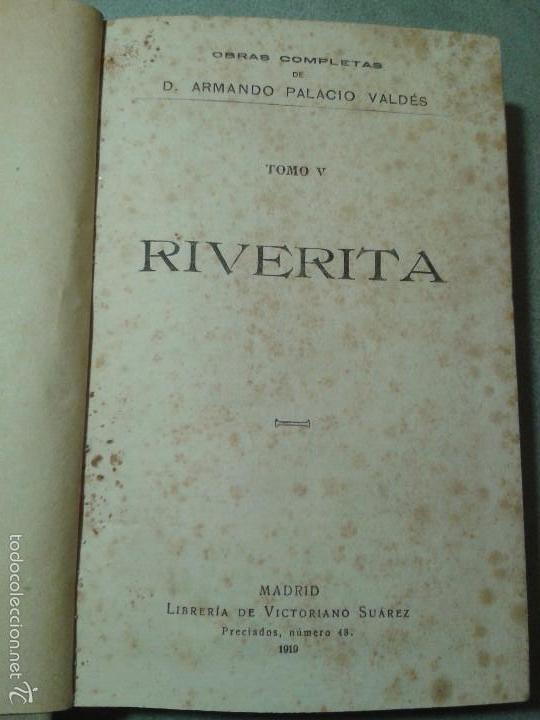 Libros antiguos: Riverita (1a parte) y Maximina (2a parte), libros obra de Palacio Valdés (1919) - Foto 2 - 58896221