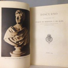 Libros antiguos: BERWICK Y DE ALBA, DUQUE DE : CARLOS MIGUEL FITZ JAMES STUART, XIV DUQUE DE ALBA (DISCURSO ACADEMIA. Lote 59643475