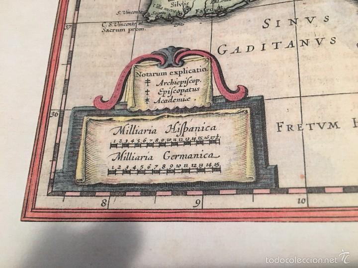 Libros antiguos: Mapa. Reproducción en papel verjurado. España 1630. Regnorum Hispania. Buen margen para enmarcar. - Foto 2 - 59653451