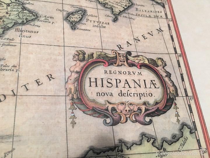 Libros antiguos: Mapa. Reproducción en papel verjurado. España 1630. Regnorum Hispania. Buen margen para enmarcar. - Foto 3 - 59653451