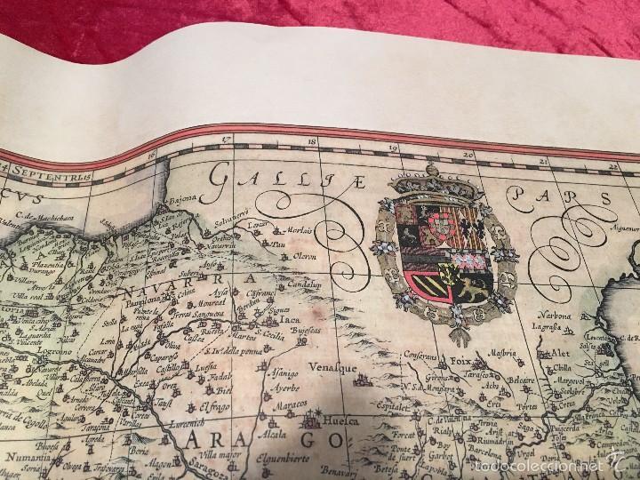 Libros antiguos: Mapa. Reproducción en papel verjurado. España 1630. Regnorum Hispania. Buen margen para enmarcar. - Foto 4 - 59653451