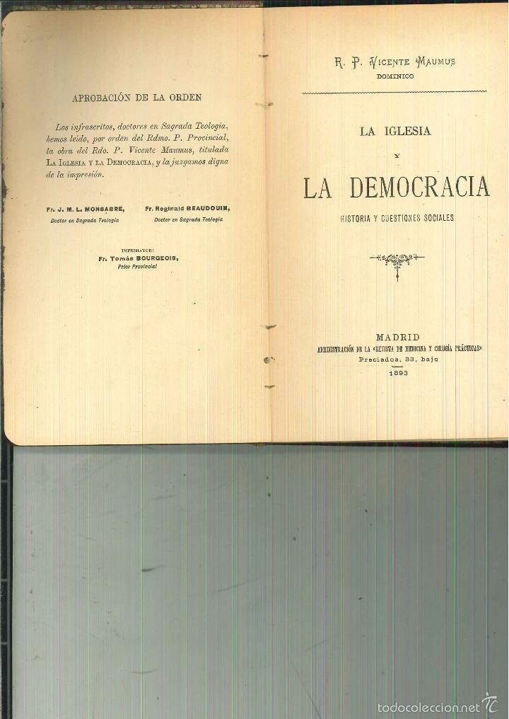 LA IGLESIA Y LA DEMOCRACIA. R. P. VICENTE MAUMUS (Libros Antiguos, Raros y Curiosos - Historia - Otros)