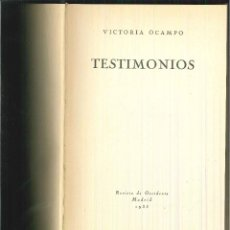 Livros antigos: TESTIMONIOS. VICTORIA OCAMPO. Lote 60054495