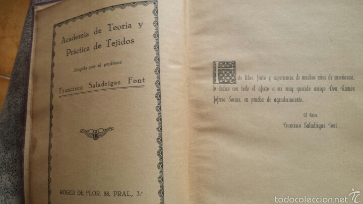 Libros antiguos: APUNTES DE TEORIA DE TEJIDOS . JERÓNIMO OLLER Y ESTEPA+ TEÓRICO PRÀCTICO DE TEJIDOS . FCO.SALADRIGAS - Foto 3 - 60414889