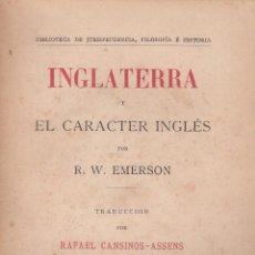 Libros antiguos: R. W. EMERSON. INGLATERRA Y EL CARÁCTER INGLÉS. MADRID, 1922.. Lote 60555031