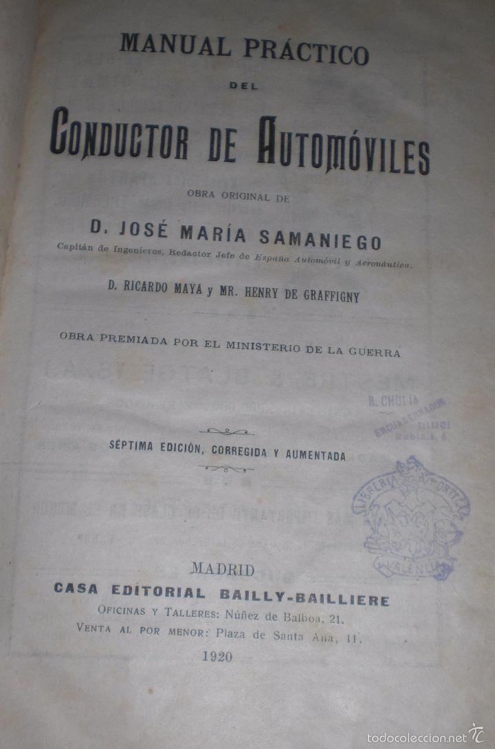 Libros antiguos: Magnifico y raro manual del conductor de Automoviles 1920 - Foto 12 - 60874179