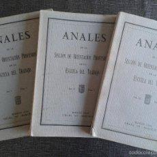 Libros antiguos: ANALES DE LA ESCUELA DEL TRABAJO, LOTE RARO Y COMPLETO: NÚMEROS 1 (AÑO 1928), 2 (1929) Y 3 (1930). Lote 61281491