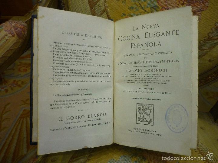 LA NUEVA COCINA ELEGANTE ESPAÑOLA, DE IGNACIO DOMÉNECH. IMPRENTA HELÉNICA 2ª EDICIÓN. (Libros Antiguos, Raros y Curiosos - Cocina y Gastronomía)