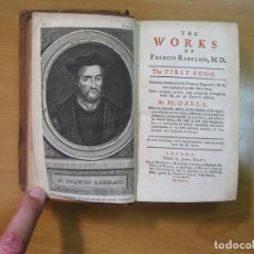 Libros antiguos: THE WORKS OF FRANCIS RABELAIS, 5 TOMOS (OBRA COMPLETA), 1750. OZELL. POSEE 26 GRABADOS. Lote 61613964