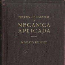 Libros antiguos: TRATADO ELEMENTAL DE MECÁNICA APLICADA, DE MORLEY-INCHLEY. (ED. LABOR, 1933). Lote 61624576