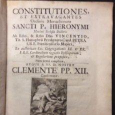Libros antiguos: CONSTITUTIONES ET EXTRAVAGANTES, P. HIERONYMI MAXIMI ECLESIAE, CLEMENTE PP XII 1730. Lote 61839232