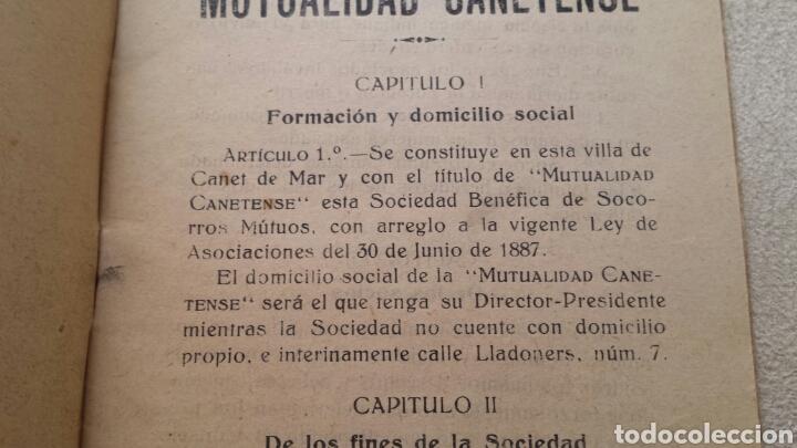 Libros antiguos: Estatutos de la Sociedad Mutualidad Canetense. Canet de Mar - Foto 3 - 62182692