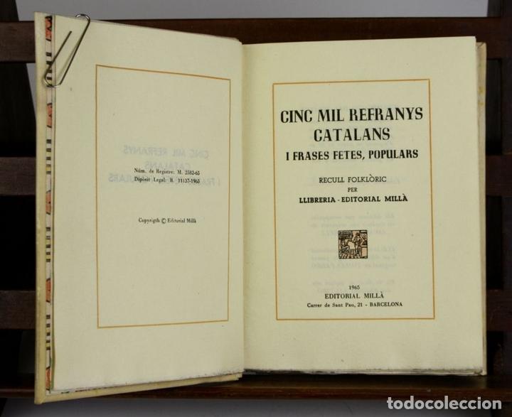 Libros antiguos: 8050 - CINC MIL REFRANYS CATALANS. EJEMPLAR Nº 93. VV. AA. EDIT. MILLÁ. 1965. - Foto 3 - 62528732