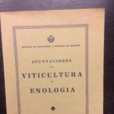 Libros antiguos: APUNTES DE VITICULTURA Y ENOLOGIA, FELANITX, BALEARES. Lote 62543700