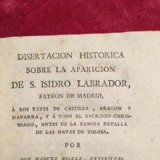 Libros antiguos: APARICION SAN ISIDRO LABRADOR PATRON DE MADRID. IMPRENTA REAL. PLENA PIEL. 1789. EXCELENTE ANTIGUO. Lote 51587712