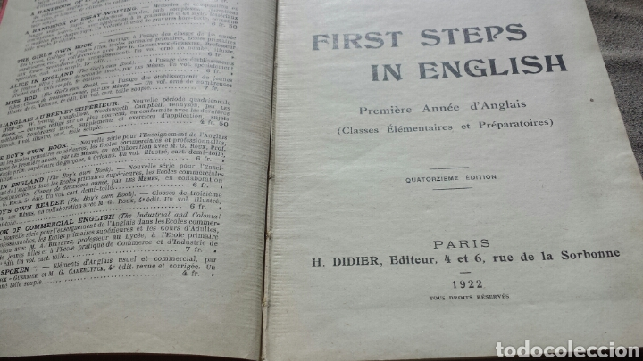Libros antiguos: FIRST STEPS IN ENGLISH- H.DIDIER,EDITEUR- PARIS 1922. Láminas - stories, poems and songs - Foto 2 - 62806832