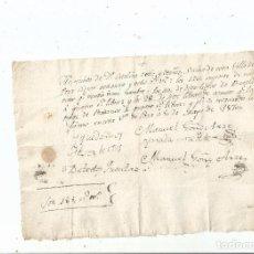 Libros antiguos: 1850 - RECIBO POR BACALAO Y AZÚCAR - POZA DE LA SAL BURGOS. Lote 63158296