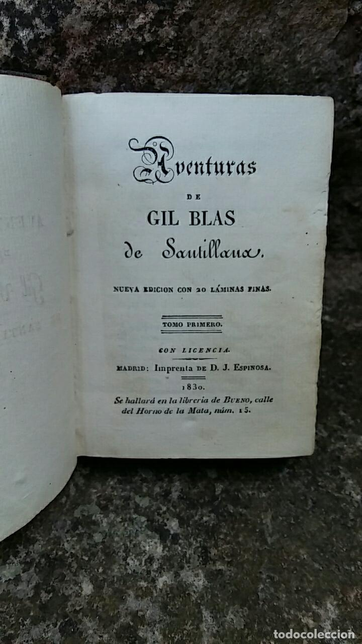 ANTIGUO LIBRO LAS AVENTURAS DE GIL BLAS DE SANTILLANA. TOMO PRIMERO 1830. CONTIENE LAMINAS (Libros antiguos (hasta 1936), raros y curiosos - Literatura - Narrativa - Otros)