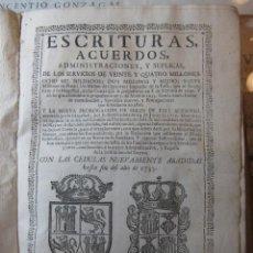 Libros antiguos: LIBRO -ESCRITURAS, ACUERDOS,ADMINISTRACIONES, Y SUPLICAS, DE LOS SERVICIOS DE VEINTE Y ......- 1734. Lote 63485712