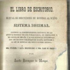 Libros antiguos: MANUAL DE REDUCCIONES DE MONEDAS AL NUEVO SISTEMA DECIMAL. JACOBO BERENGUER DE MONGAT.BARCELONA.1868. Lote 63717343