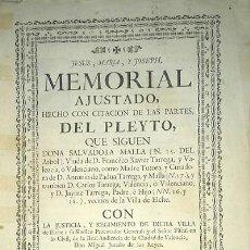 Libros antiguos: PLEITO FAMILIA TARREGA CON LA VILLA DE ELCHE PARA USO DE SU NOBLEZA Y ESCUDO DE ARMAS 1764 VALENCIA. Lote 64113719