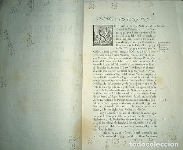 Libros antiguos: PLEITO FAMILIA TARREGA CON LA VILLA DE ELCHE PARA USO DE SU NOBLEZA Y ESCUDO DE ARMAS 1764 VALENCIA - Foto 2 - 64113719