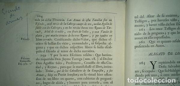 Libros antiguos: PLEITO FAMILIA TARREGA CON LA VILLA DE ELCHE PARA USO DE SU NOBLEZA Y ESCUDO DE ARMAS 1764 VALENCIA - Foto 3 - 64113719