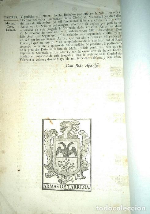 Libros antiguos: PLEITO FAMILIA TARREGA CON LA VILLA DE ELCHE PARA USO DE SU NOBLEZA Y ESCUDO DE ARMAS 1764 VALENCIA - Foto 4 - 64113719