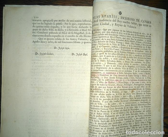 Libros antiguos: PLEITO FAMILIA TARREGA CON LA VILLA DE ELCHE PARA USO DE SU NOBLEZA Y ESCUDO DE ARMAS 1764 VALENCIA - Foto 5 - 64113719