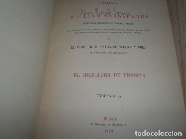 Libros antiguos: OBRAS DE WILLIAM SHAKSPEARE,1872-1877-3 TOMOS - Foto 8 - 64198119