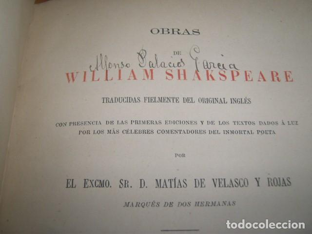 Libros antiguos: OBRAS DE WILLIAM SHAKSPEARE,1872-1877-3 TOMOS - Foto 10 - 64198119