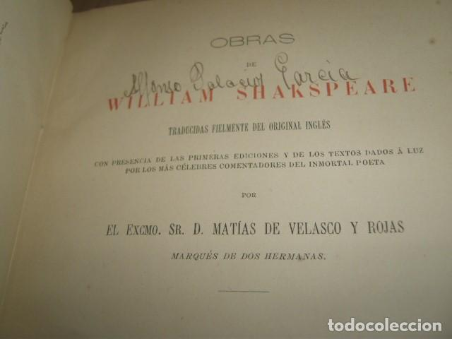 Libros antiguos: OBRAS DE WILLIAM SHAKSPEARE,1872-1877-3 TOMOS - Foto 13 - 64198119