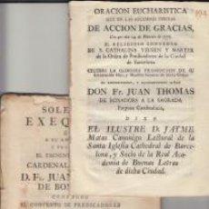 Libros antiguos: ORACIÓN EUCHARISTICA Y EXEQUIAS JUAN THOMAS BOIXADOR CONVENT SANTA CATHALINA BARCELONA 1776. Lote 64488911