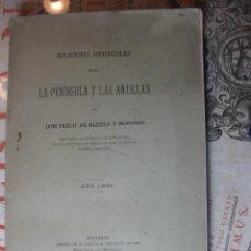 Libros antiguos: RELACIONES COMERCIALES ENTRE LA PENÍNSULA Y LAS ANTILLAS. PABLO DE ALZOLA. AÑO 1895.. Lote 64776059