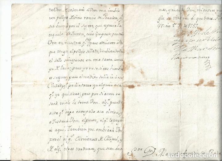 PELLEJO DE VINO RANCIO DE PERALTA, SELLADO ¿MARQUESA DE BELAMAZAN? - FETIÑANES (PONTEVEDRA) 1757 (Libros Antiguos, Raros y Curiosos - Cocina y Gastronomía)
