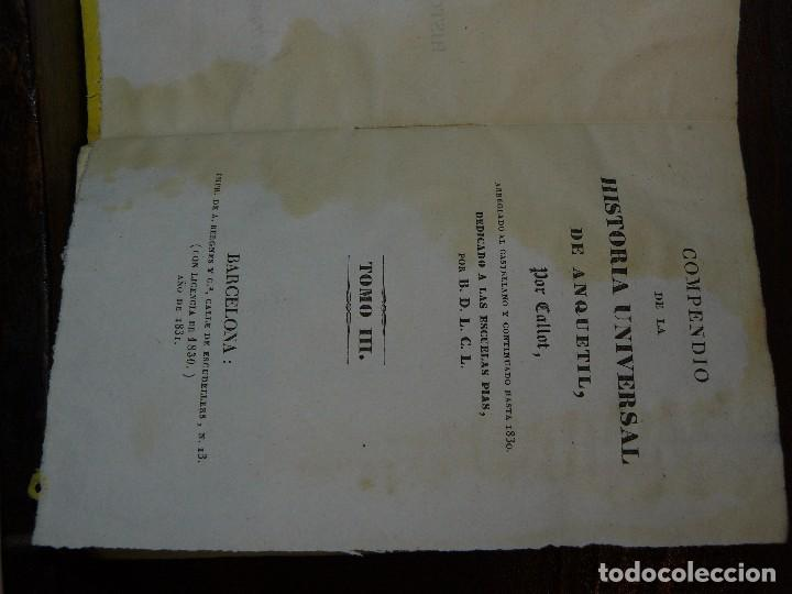 Libros antiguos: COMPENDIO DE LA HISTORIA UNIVERSAL DE ANQUETIL, TOMOS II y III. 1831 - Foto 2 - 65954142