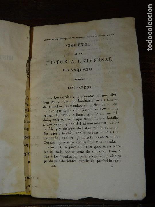 Libros antiguos: COMPENDIO DE LA HISTORIA UNIVERSAL DE ANQUETIL, TOMOS II y III. 1831 - Foto 3 - 65954142