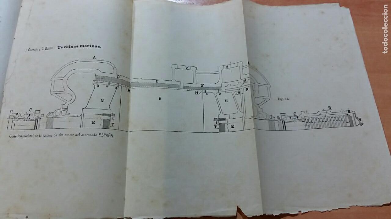 Libros antiguos: TURBINAS MARINAS, J CORNEJO Y V BALIÑO, FERROL LA CORÚÑA 1912. CONTIENE NUMEROSAS FIGURAS - Foto 2 - 66009674