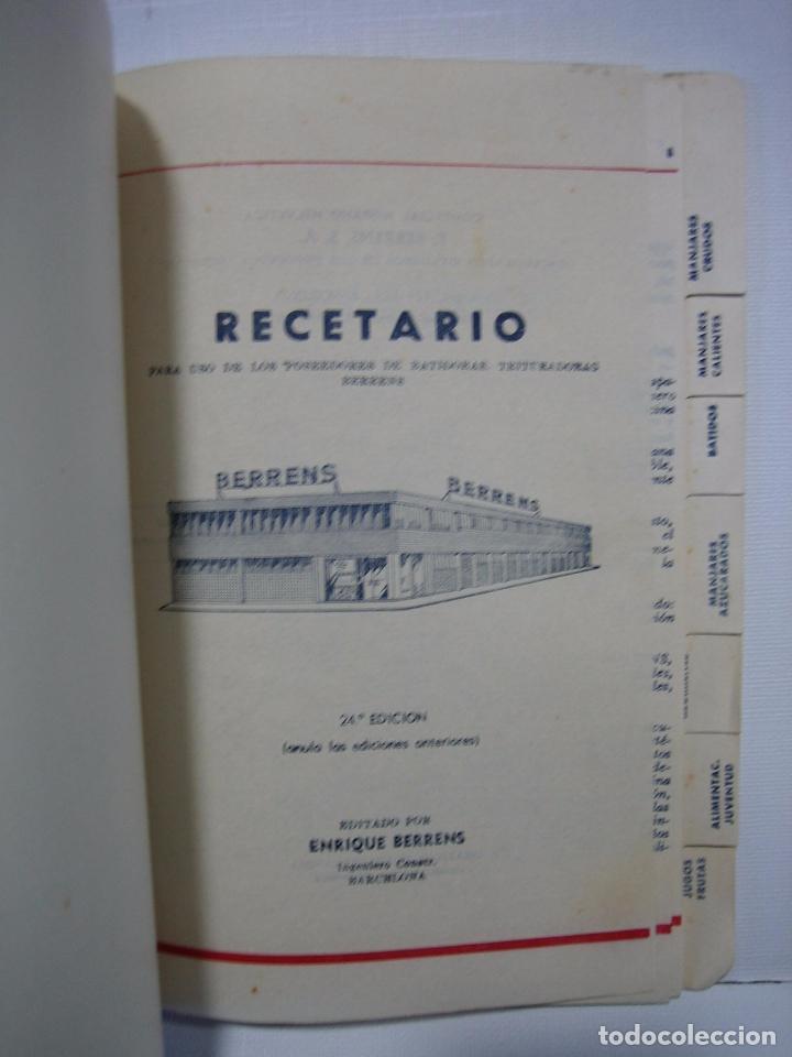 Libros antiguos: Recetario. Manual técnico de la batidora Berrens - Foto 3 - 66876486