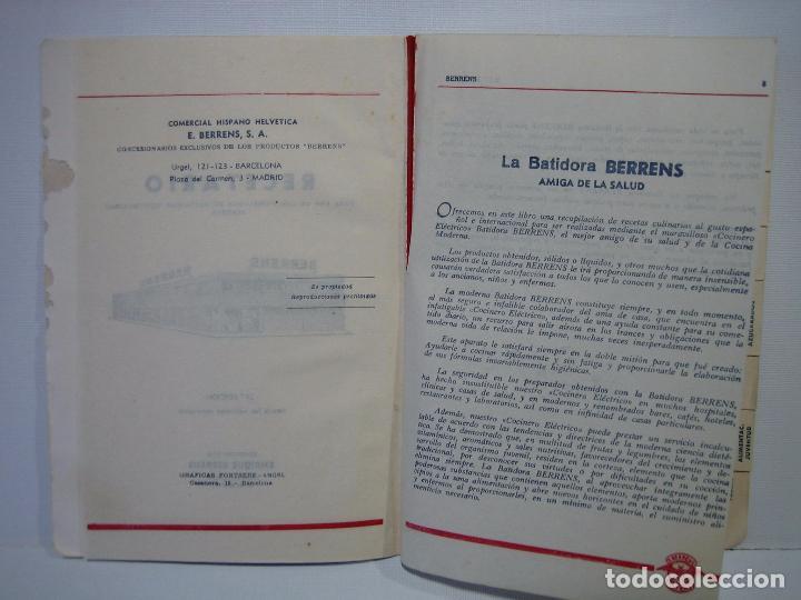 Libros antiguos: Recetario. Manual técnico de la batidora Berrens - Foto 4 - 66876486