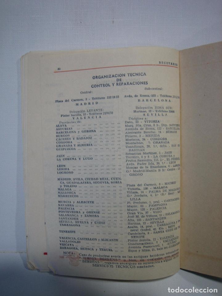 Libros antiguos: Recetario. Manual técnico de la batidora Berrens - Foto 8 - 66876486