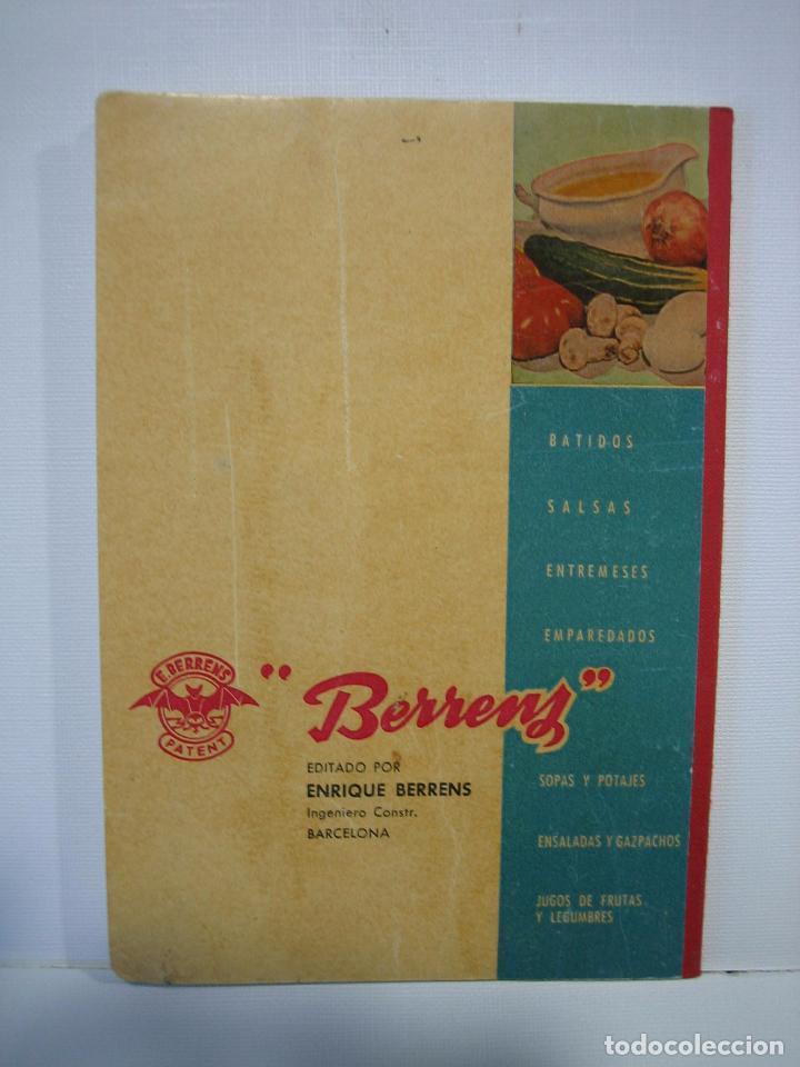 Libros antiguos: Recetario. Manual técnico de la batidora Berrens - Foto 9 - 66876486