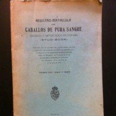 Libros antiguos: REGISTRO MATRICULA DE CABALLOS DE PURA SANGRE TOMO XXI 1924 Y 1925 (1927). Lote 67016583