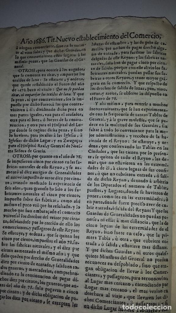 Libros antiguos: FVEROS Y ACTOS DE CORTE DE ARAGON - 1686 - Foto 3 - 67340457